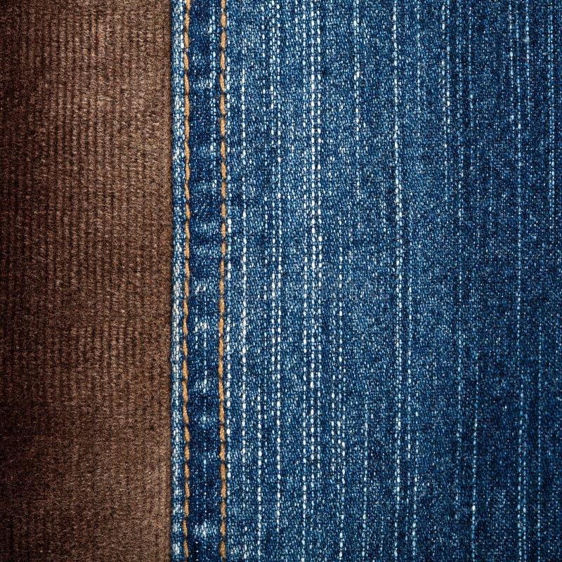 Jeans en corduroy texturen royalty-vrije stock fotografie