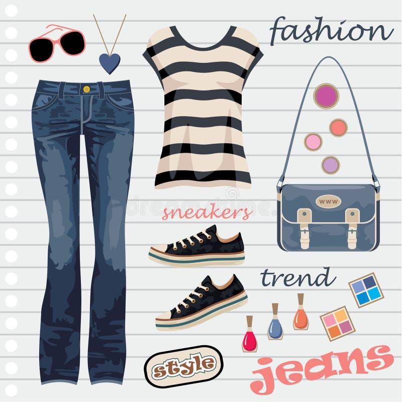 Jeans fashion set vector illustration