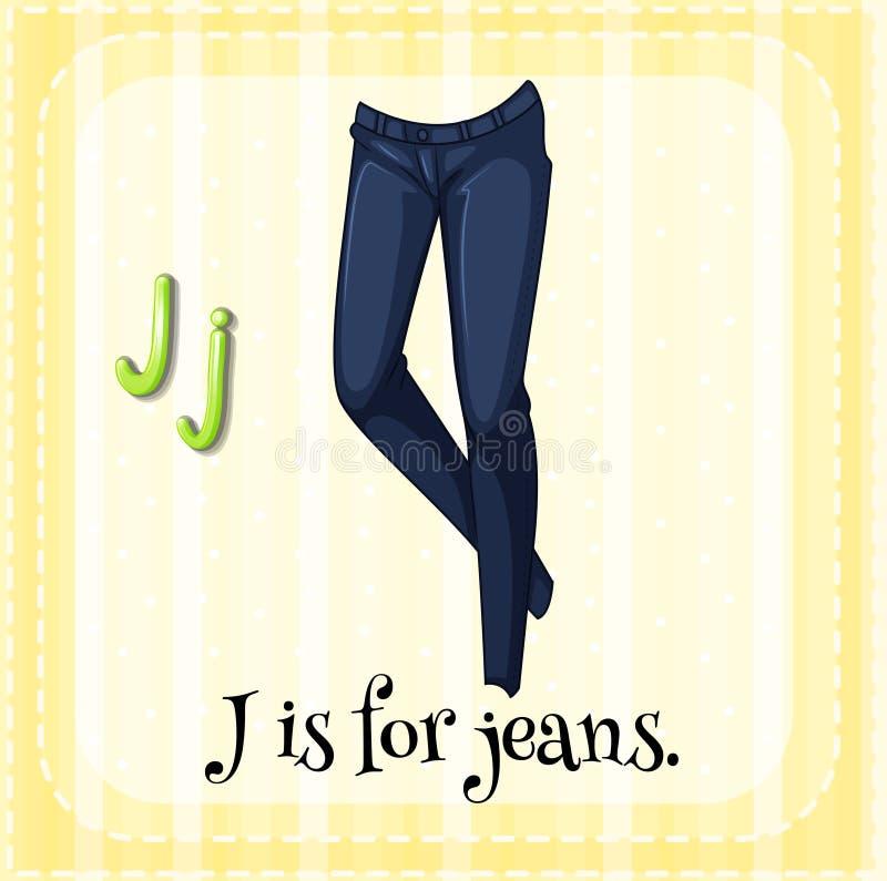 Jeans. Flashcard letter J is for jeans vector illustration