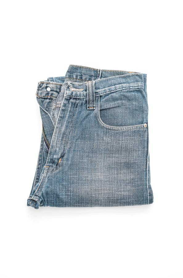 Jeans folded on white background royalty free stock images