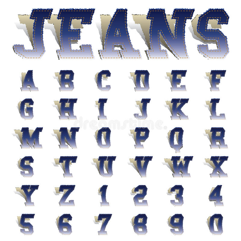 Jeans fonts stock illustration