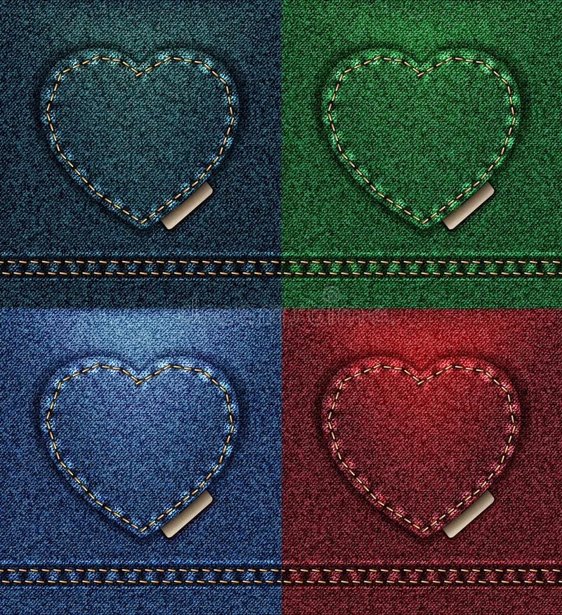 Jeans heart greeting card color collection, fabric texture denim, I love you Valentine blue petroleum red green vector 4 royalty free illustration