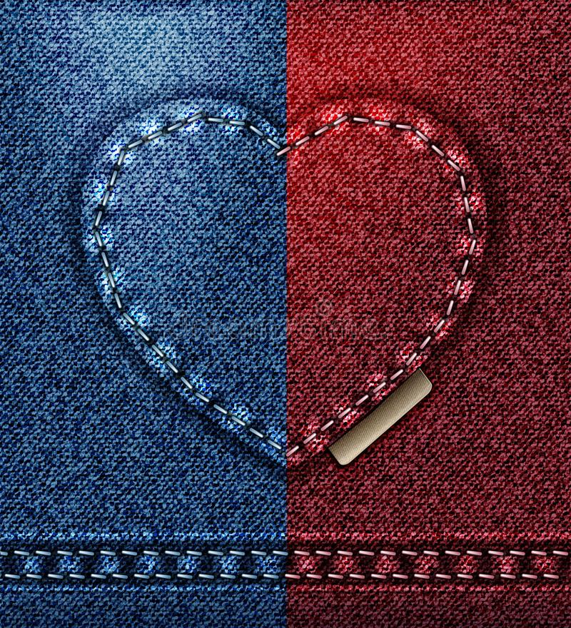 Jeans heart greeting card, I love you Valentine red blue blank template background stock illustration