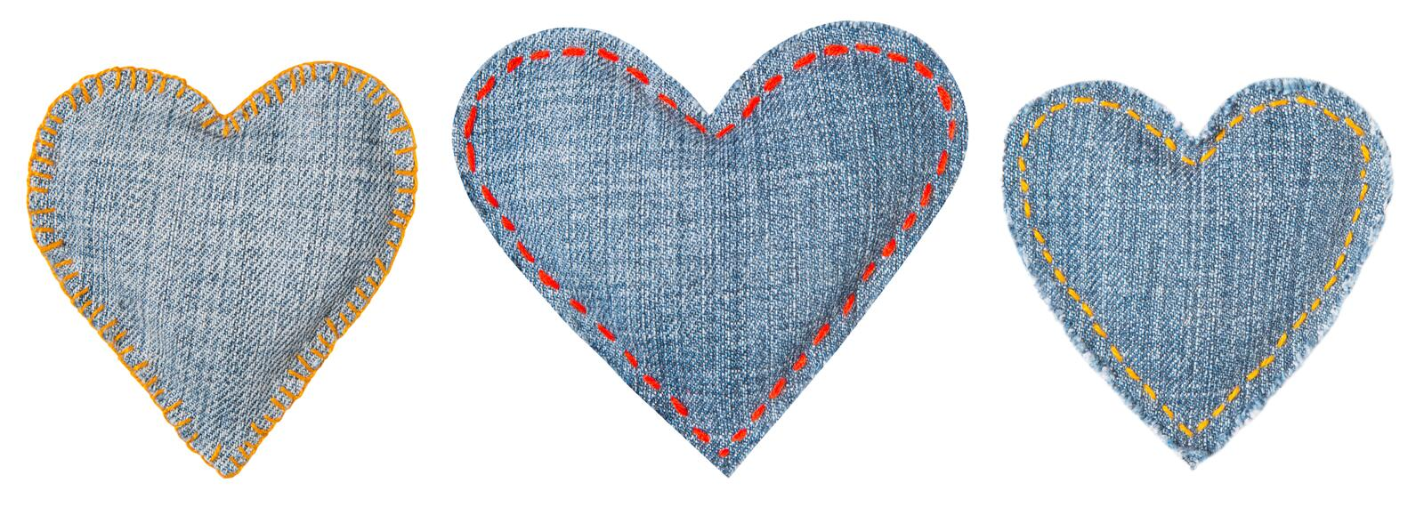 Jeans Heart, Patch with Stitches Seams, Set of Fabric Shapes White Isolated, Love concept royalty free stock photo