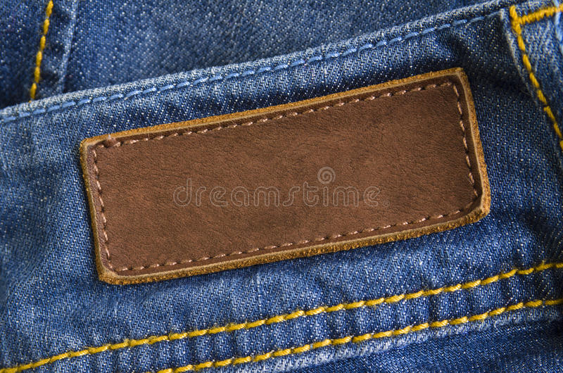 Jeans Leather Tag Stock Photo