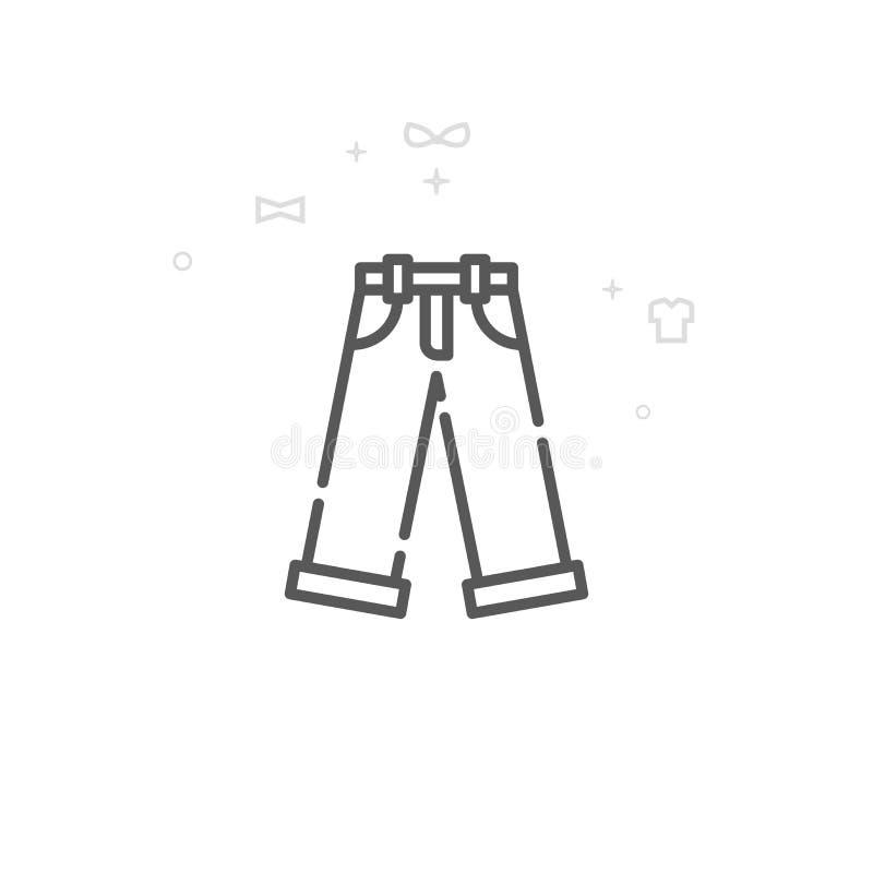 Jeans, ligne icône, symbole, pictogramme, signe de vecteur de denim Fond g?om?trique abstrait clair Course Editable illustration de vecteur