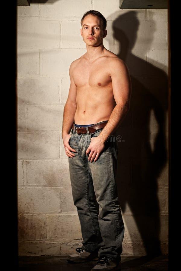 jeans man shirtless arkivfoto