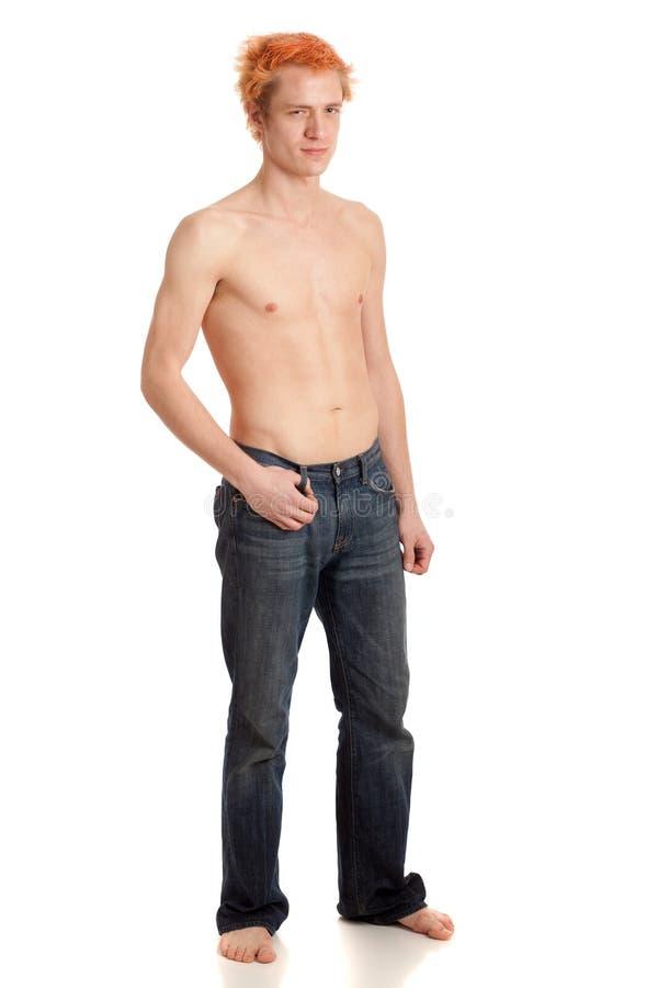jeans man shirtless fotografering för bildbyråer