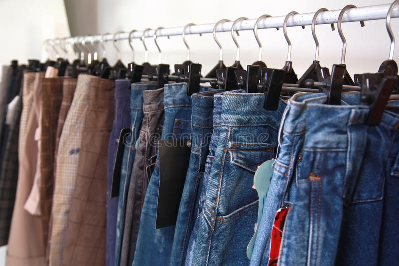 Download Jeans at market stock photo. Image of sale, many, color - 10088302