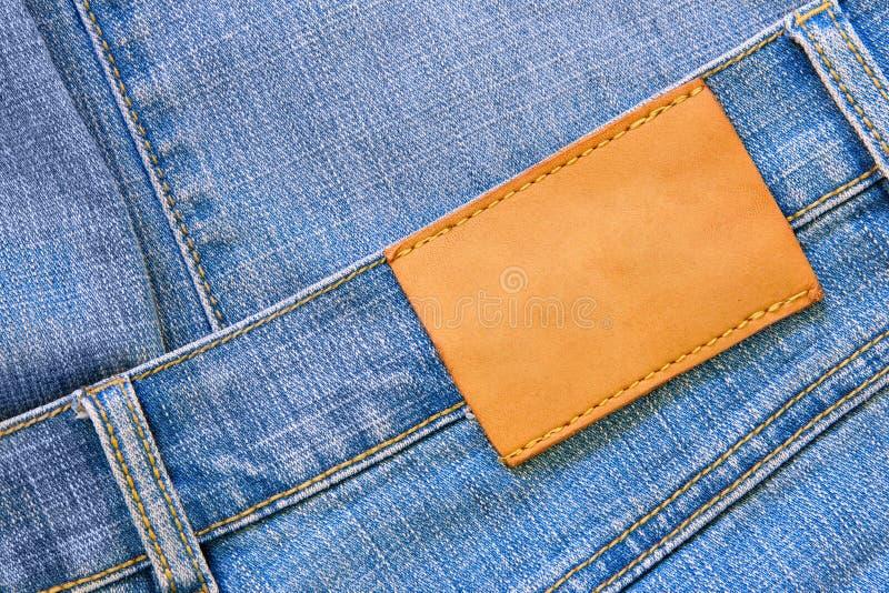 Jeans met leeg etiket royalty-vrije stock foto's