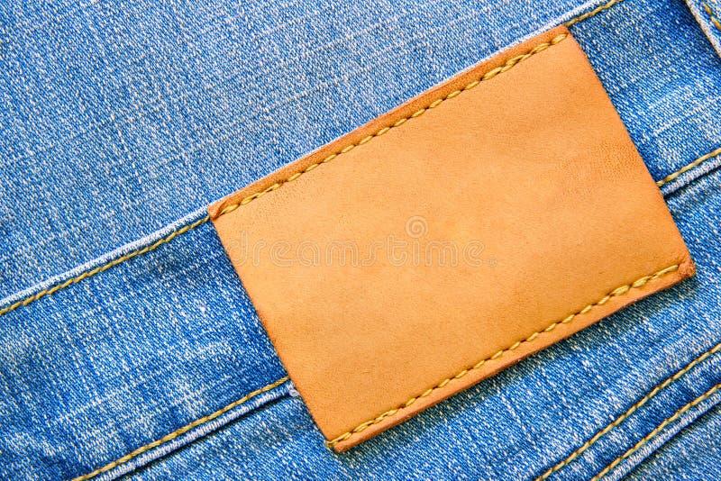 Jeans met leeg etiket royalty-vrije stock foto
