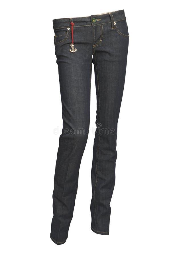 Jeans op wit stock afbeelding