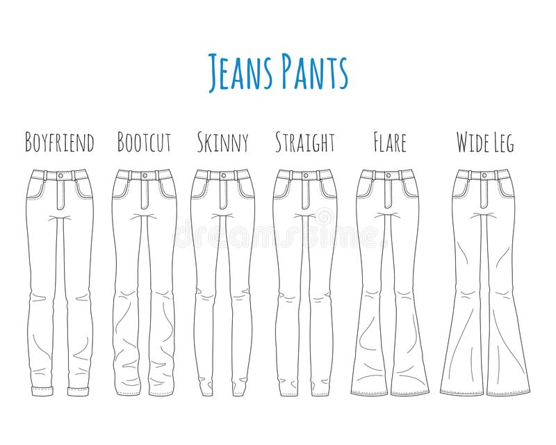 Jeans pants collection, sketch vector illustration. royalty free illustration