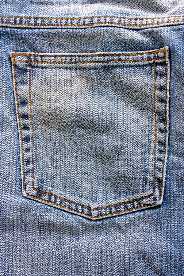 Jeans pocket. Macro studio shot of close up of jeans back pocket stock image