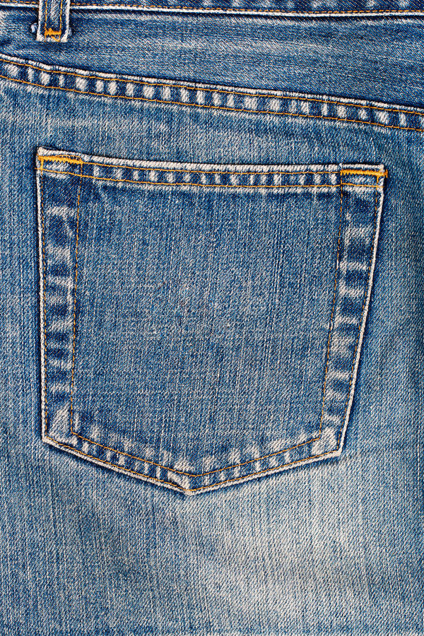 Jeans pocket. On back of blue pants stock photos