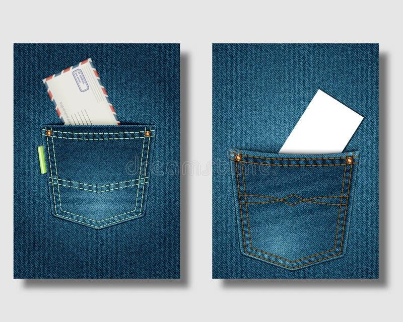 Jeans pocket on Denim background. Envelope and business card in pockets. Poster, banner or leaflet template vector illustration