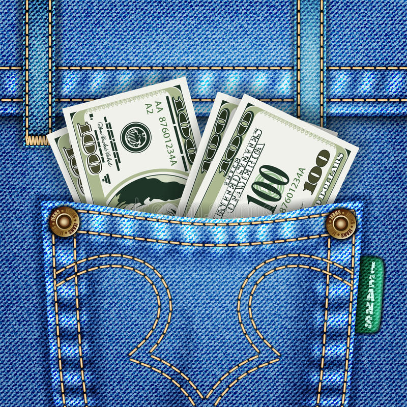 Jeans Pocket with Dollar Bills royalty free illustration