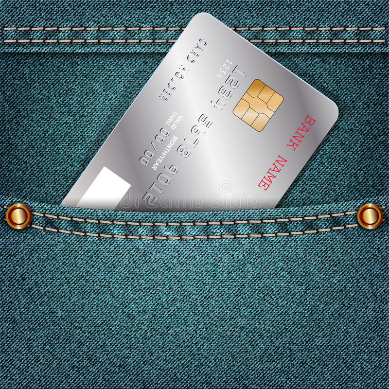 Jeans pocket with a single silver credit card. stock illustration