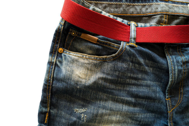 Jeans and red belt. Blue Jeans and red belt stock images