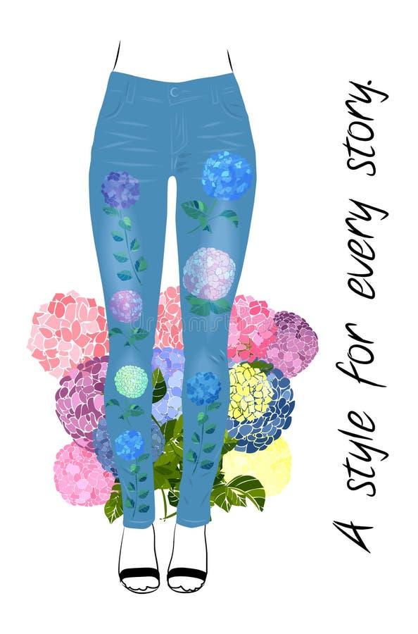 Jeans reden T-Stück Druckentwurf mit Blumen und den Frauenbeinen an stock abbildung