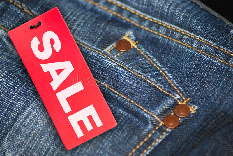 Download Jeans With Sale Tag stock photo. Image of hanging, clothing - 22629394