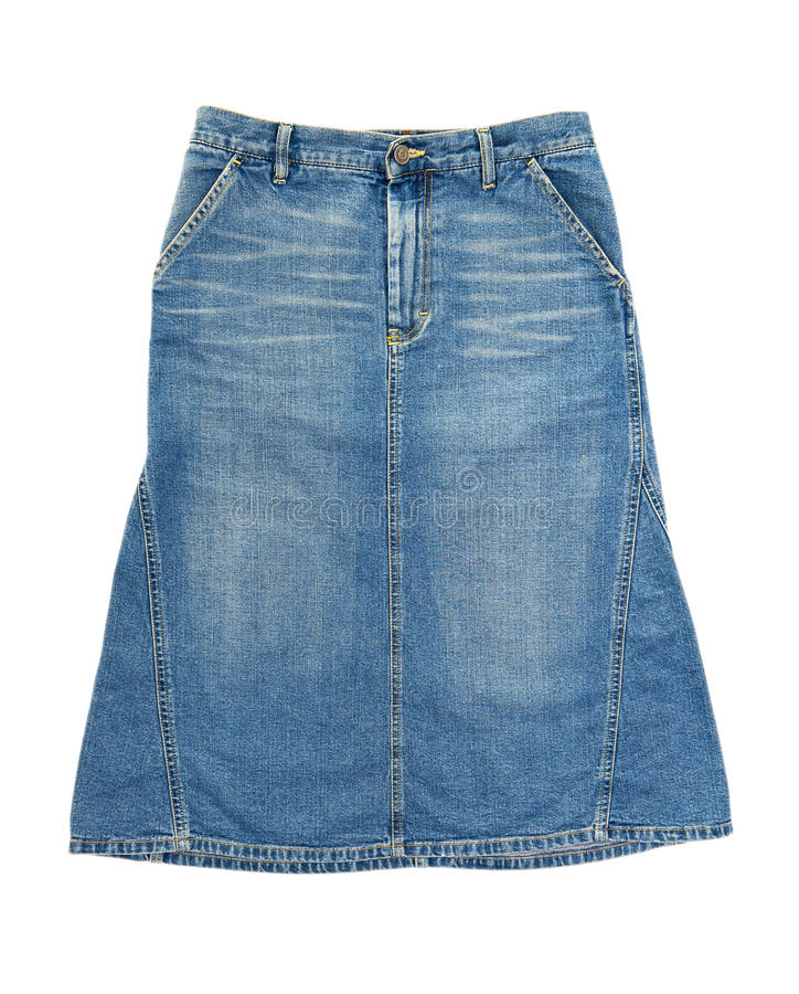 Jeans skirt. Isolated on the white background royalty free stock photo