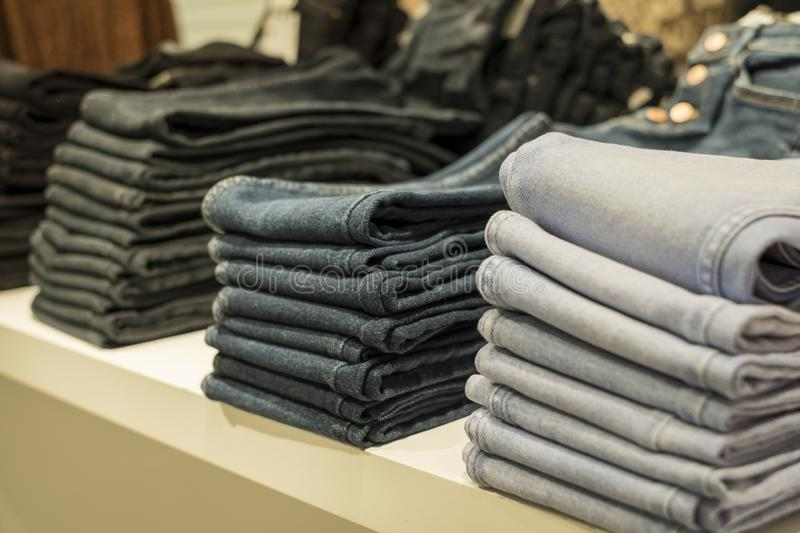 jeans in store for sale in fashion store royalty free stock image
