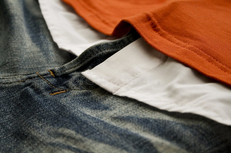 Jeans with t-shirts royalty free stock photo