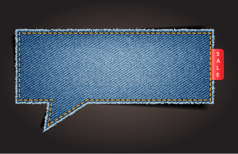 Jeans texturerar bakgrund på retro utformar anförande bubblar vektor illustrationer