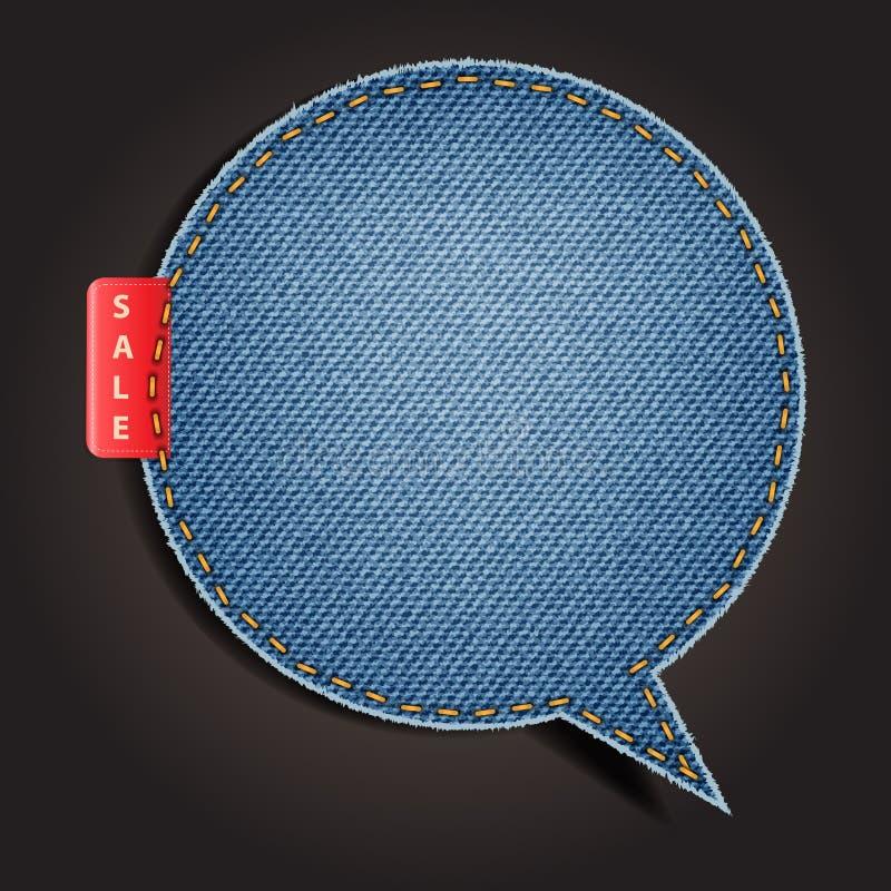 Jeans texturerar bakgrund på retro utformar anförande bubblar royaltyfri illustrationer