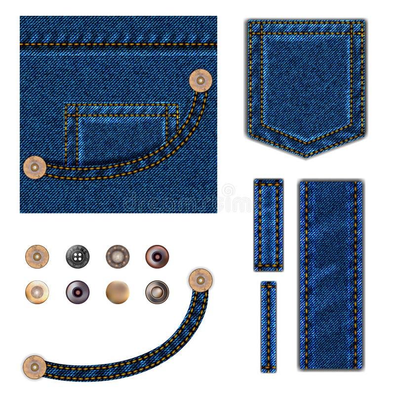 Jeans und Tasten Glänzende Silberkennsätze und -abzeichen Blauer Denimhintergrund mit Tasche, Metall reißt Sammlungs- und Beschaf vektor abbildung
