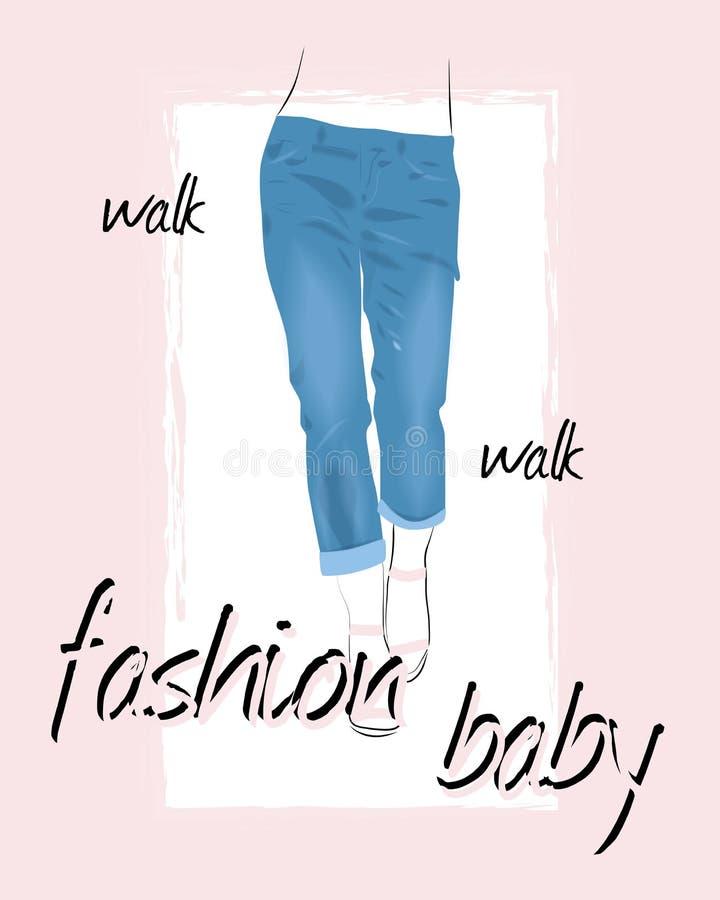 Jeans utformar utslagsplatstryckdesign med blommor, och kvinnaben går för att gå mode behandla som ett barn stock illustrationer