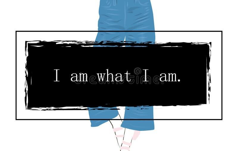 Jeans utformar utslagsplatstryckdesign med blommor och kvinnaben som jag är vad jag är royaltyfri illustrationer