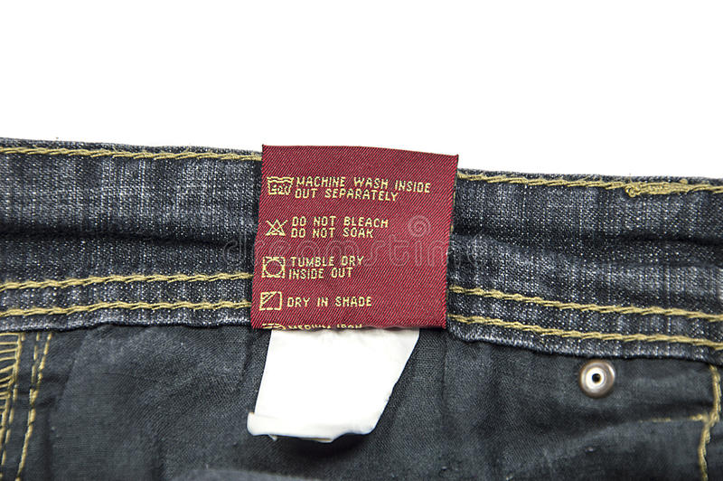 Jeans Wash Care Instructions stock photo