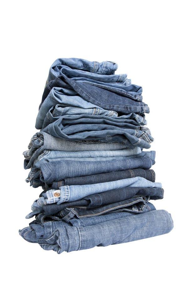 Jeans on white stock photos
