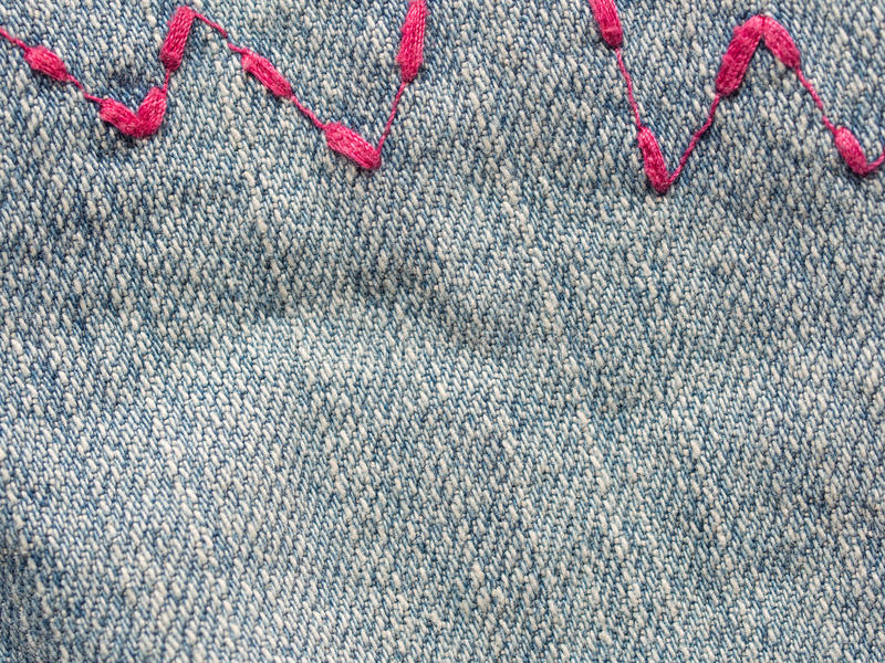 Download Jeans zig zag stock image. Image of fabric, stitches - 35209073