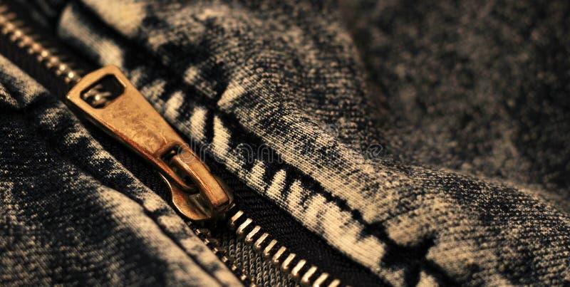 Jeans zipper so close, metal stock image