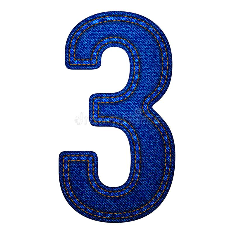 Jeansalfabetbokstäver numrerar 3, design för mall för vektorillustration modern stock illustrationer