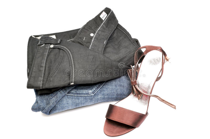 jeansdamtoalettsandal royaltyfri fotografi