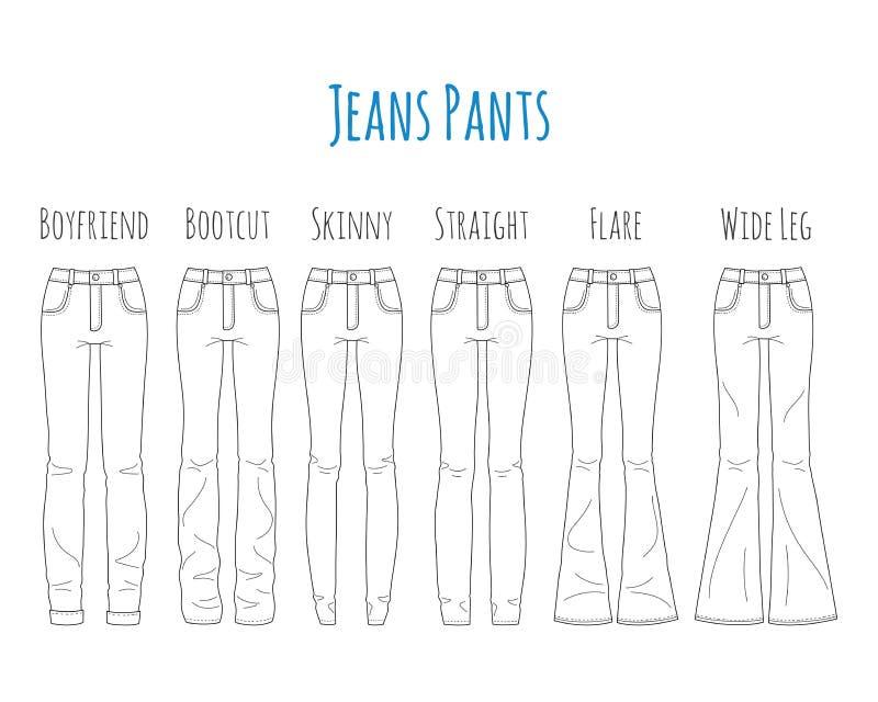 Jeansflåsandesamlingen, skissar vektorillustrationen royaltyfri illustrationer