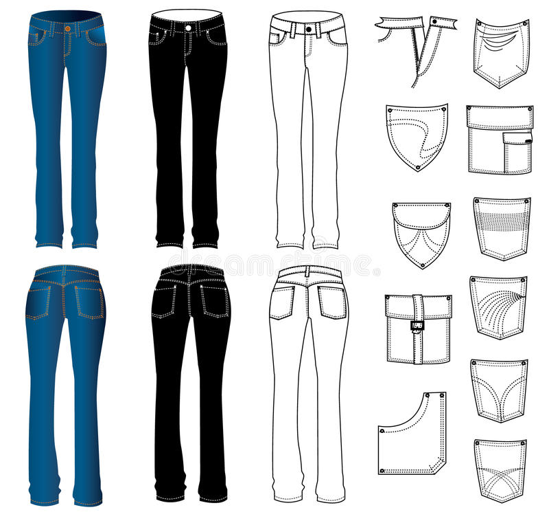 jeanskvinna stock illustrationer