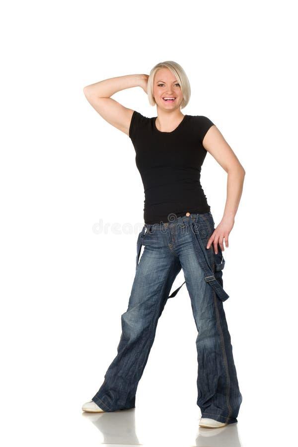 jeanskvinna royaltyfria foton