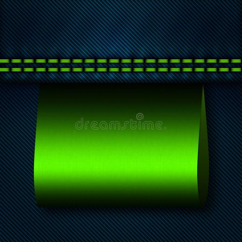 Jeansnaad met groen leeg etiket royalty-vrije illustratie