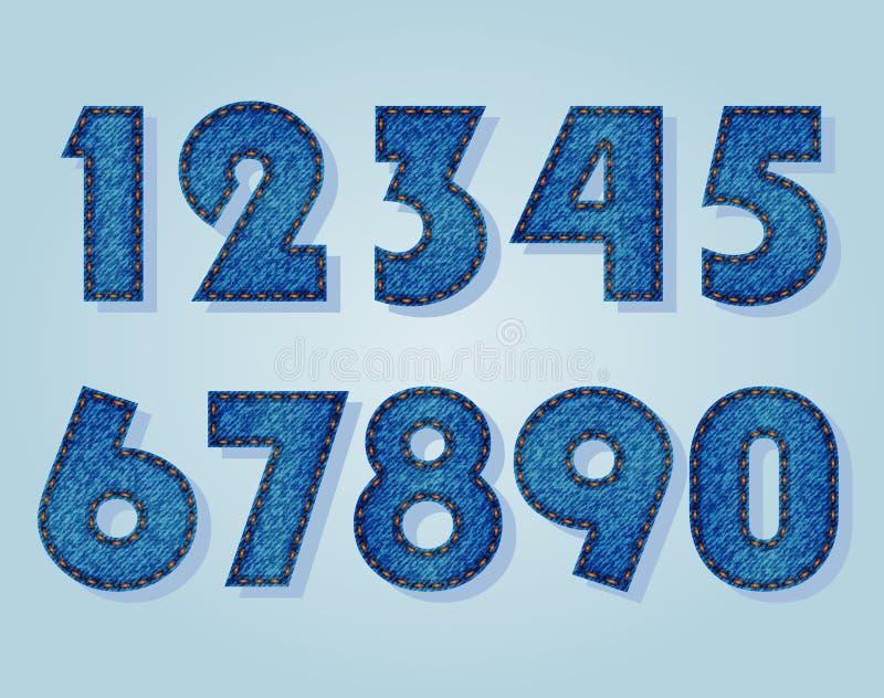 Jeansnummer vektor illustrationer