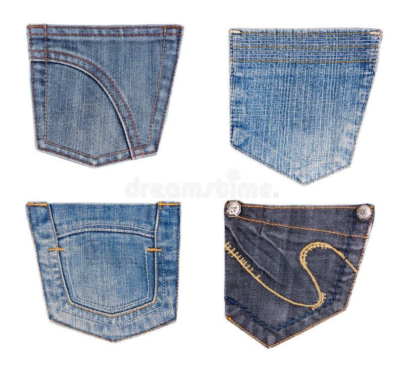 Jeanstaschenansammlung getrennt auf Weiß stockfoto