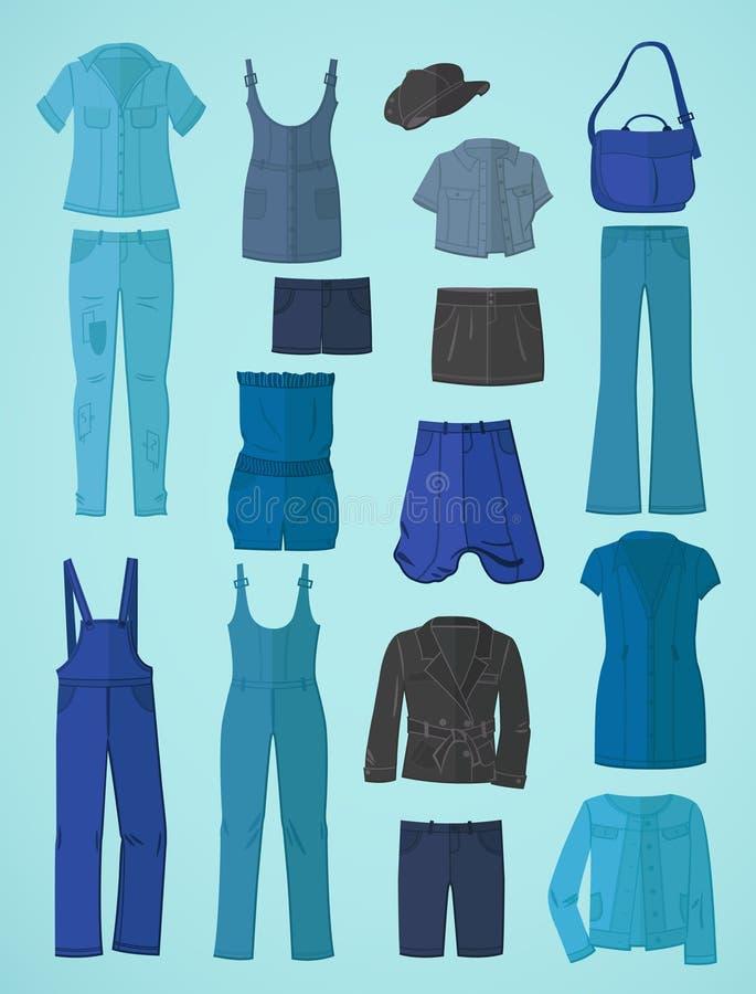 Jeanswear nella progettazione piana royalty illustrazione gratis