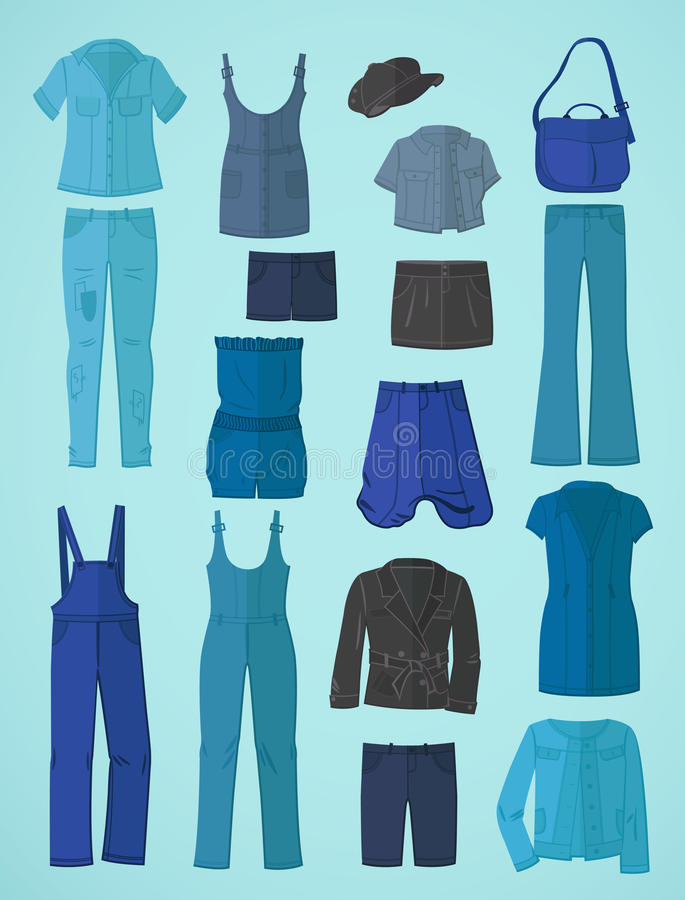 Jeanswear no projeto liso ilustração royalty free