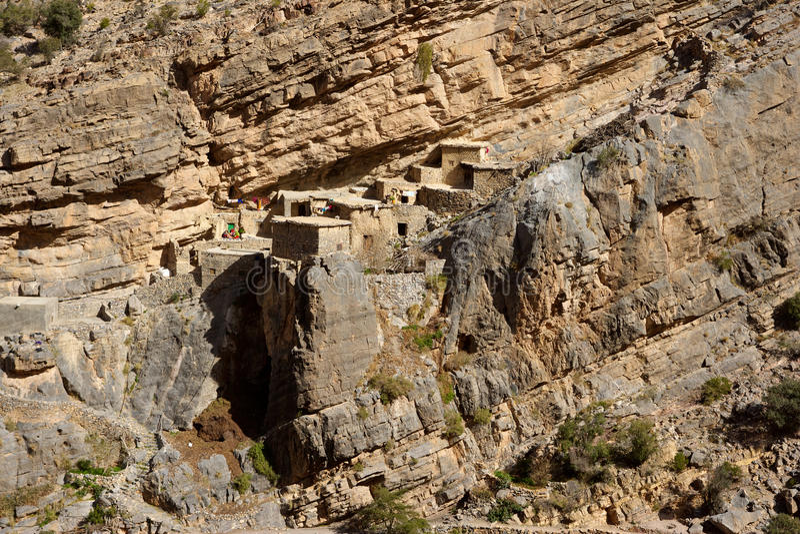 Jebel Akhdar Cliff Hamlet royalty-vrije stock afbeeldingen