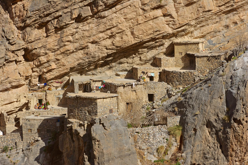 Jebel Akhdar Cliff Hamlet fotografia de stock