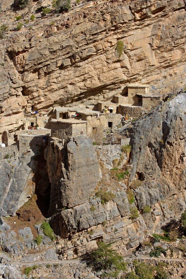 Jebel Akhdar Cliff Hamlet stock afbeeldingen
